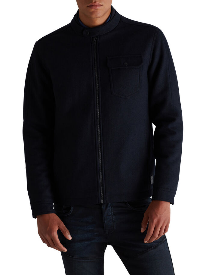 KORT ULD-BLEND JAKKE, Dark Navy, large