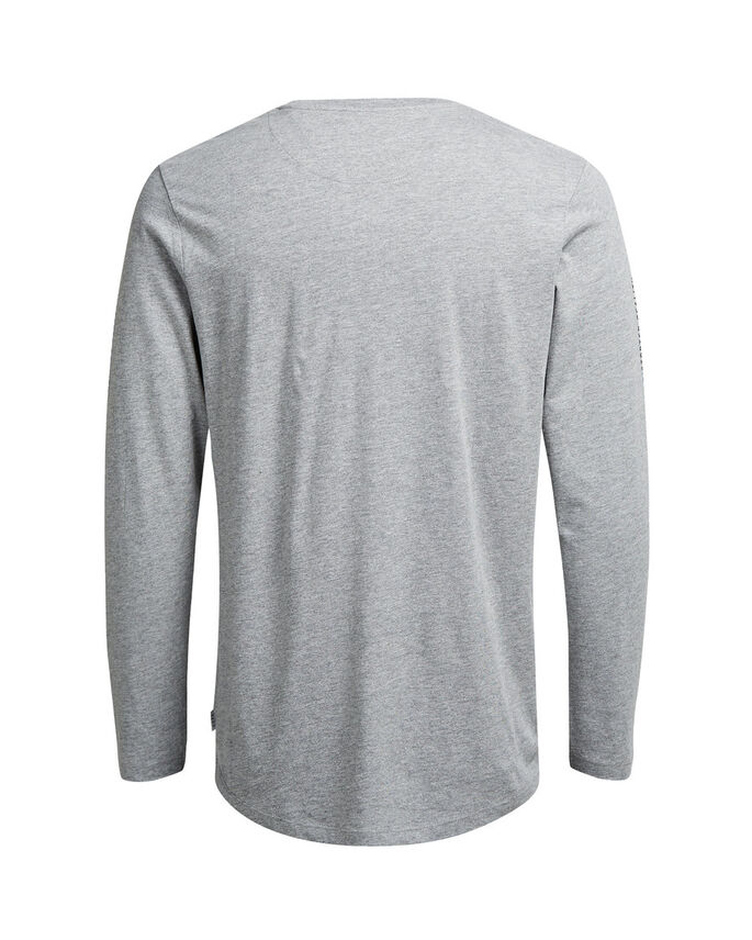 GRAFISCH T-SHIRT MET LANGE MOUWEN, Light Grey Melange, large
