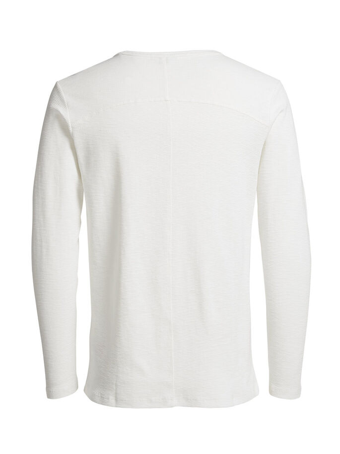 TEXTURED LONG-SLEEVED T-SHIRT, Blanc de Blanc, large