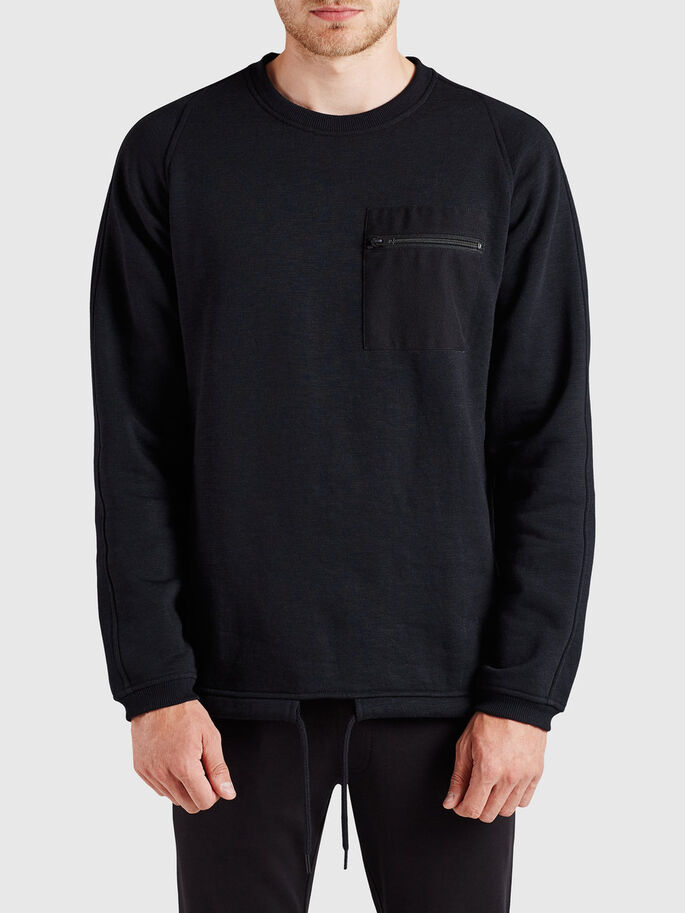 GLIDELÅSLOMME SWEATSHIRT, Black, large