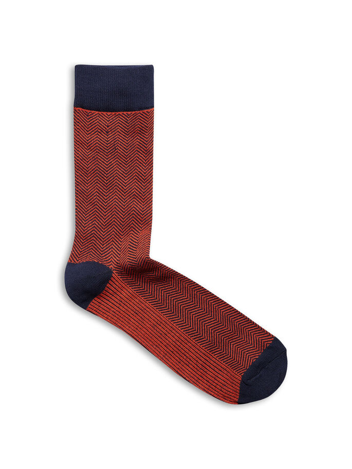 PATTERNED 4 PACK SOCKS, Burnt Ochre, large