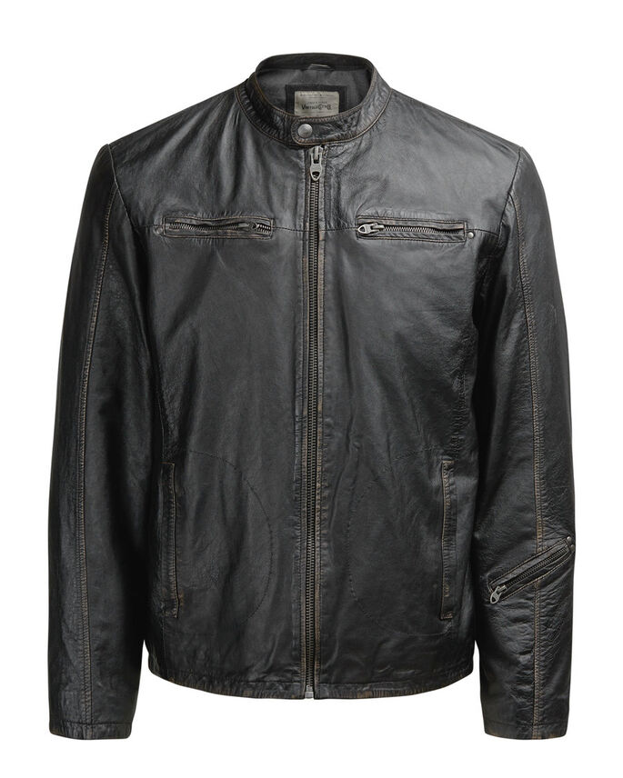 LEATHER BIKER LEATHER JACKET, Black, large