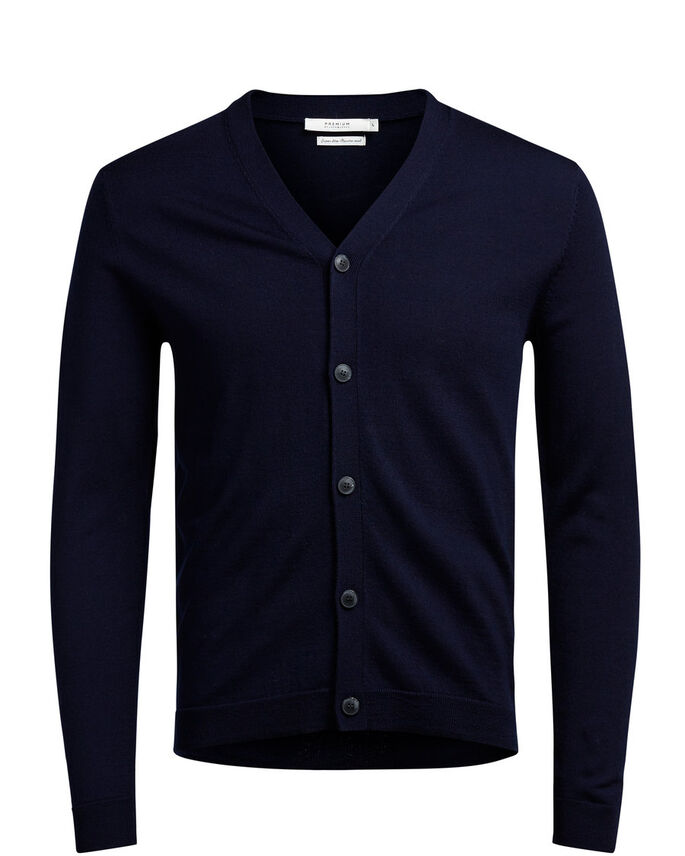 SUPER FINE MERINO WOOL CARDIGAN, Navy Blazer, large