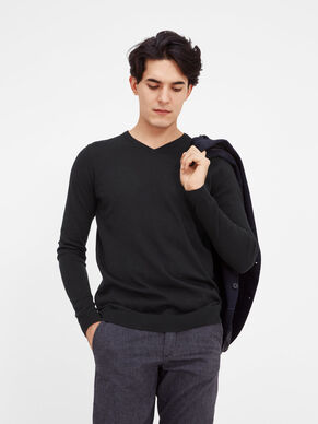 SILKE MIX V-NECK STRIKKET PULLOVER