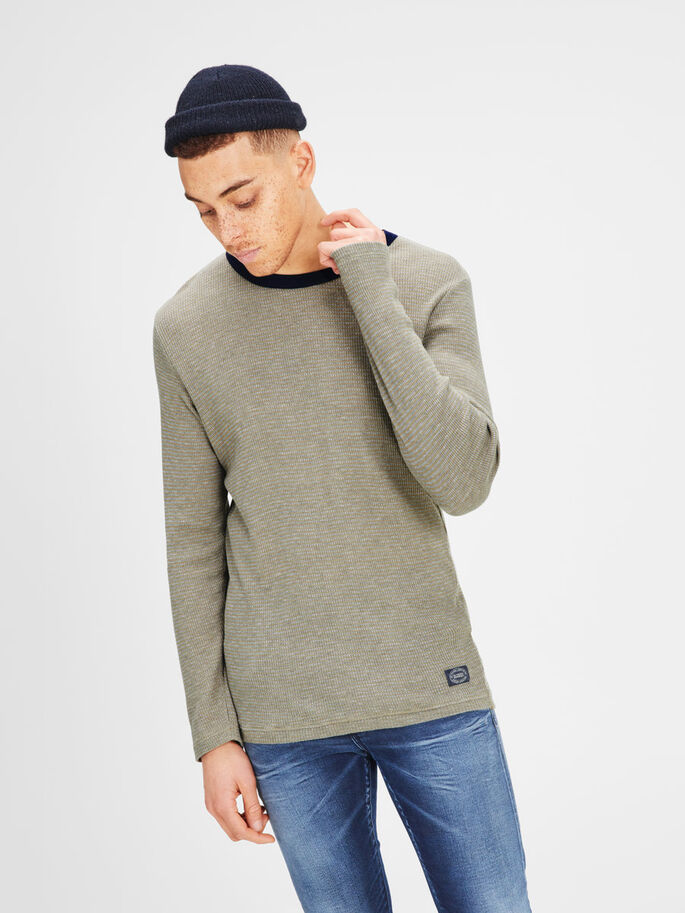 MELANGE SWEATSHIRT, Lead Gray, large