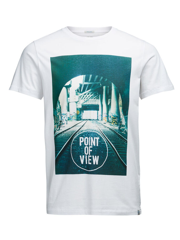 PHOTO PRINT T-SHIRT, White, large