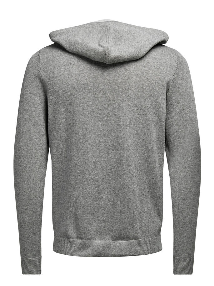 HOODED PULLOVER, Grey Melange, large