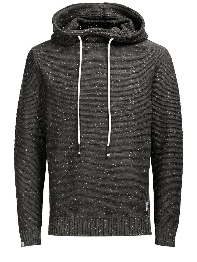 CLASSIC KNIT HOODIE, Raven, large
