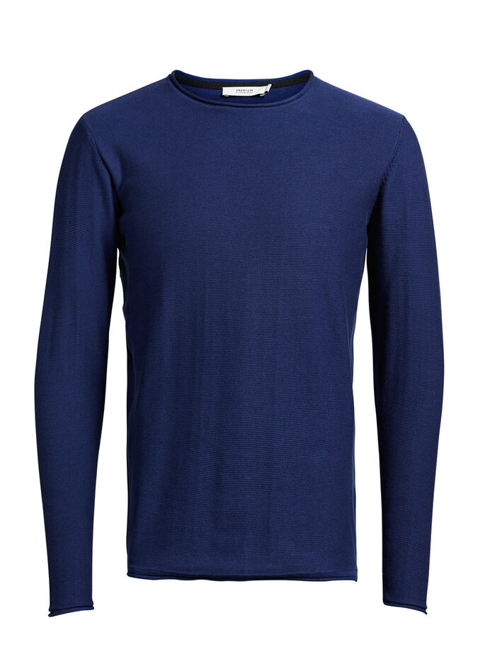 KLASSISK O-NECK PULLOVER, Blue Depths, large