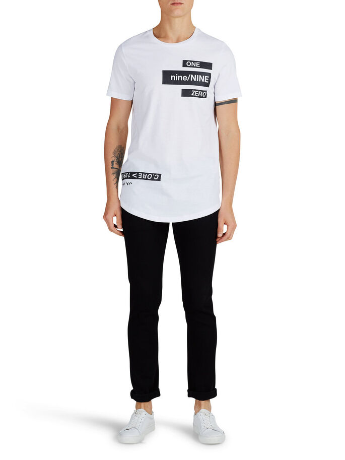 CON TEXTO ESTAMPADO CAMISETA, White, large