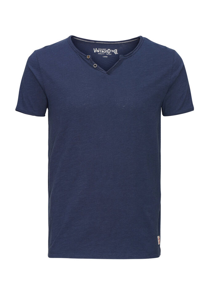SPILT-NECK T-SHIRT, Mood Indigo, large