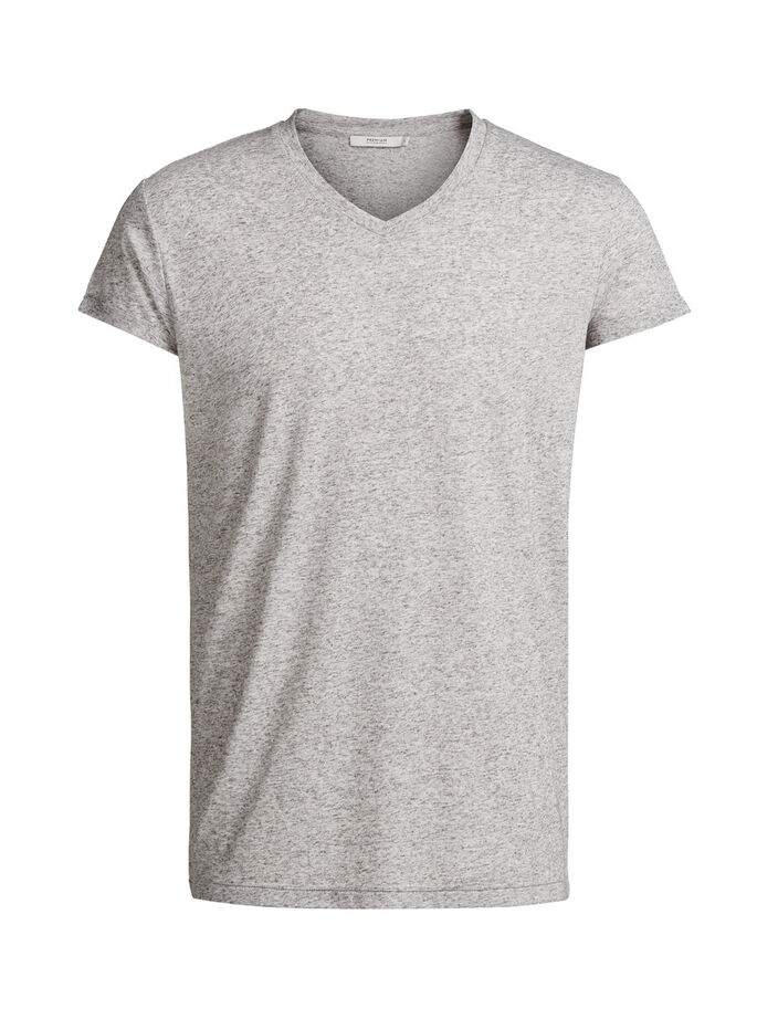 LEINENMISCHFASER- T-SHIRT, Light Grey Melange, large