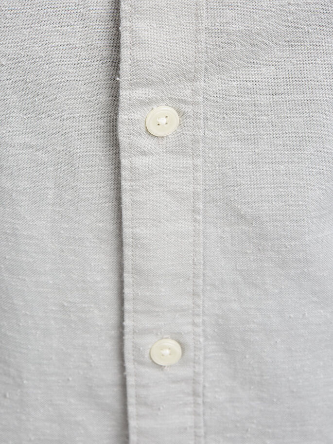 EFFETTO FIAMMATO BUTTON-UNDER CAMICIA A MANICHE LUNGHE, Mirage Gray, large