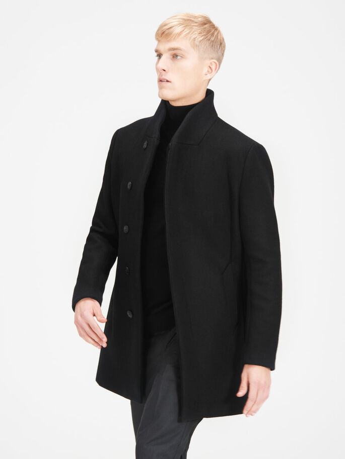 SHAWL NECK COAT, Black, large