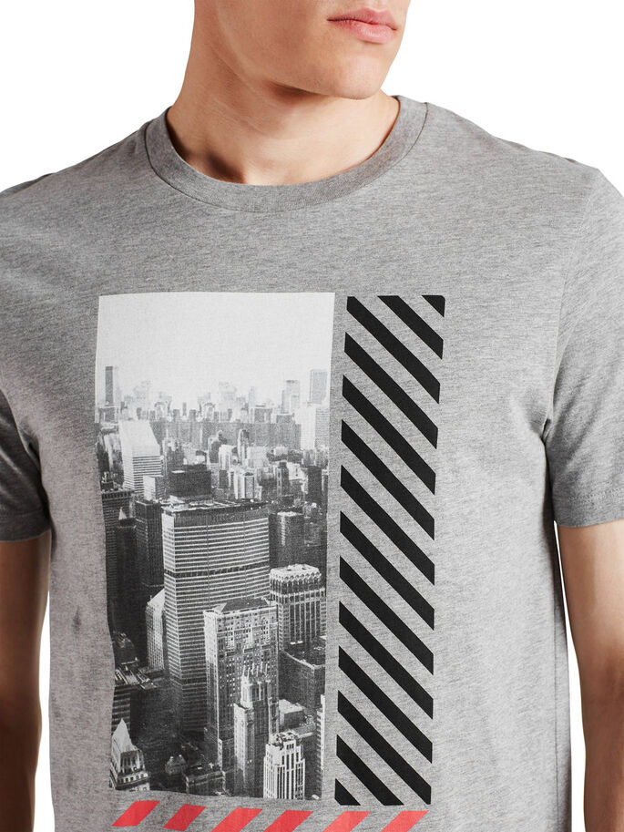 GRAPHIC PHOTO PRINT T-SHIRT, Light Grey Melange, large