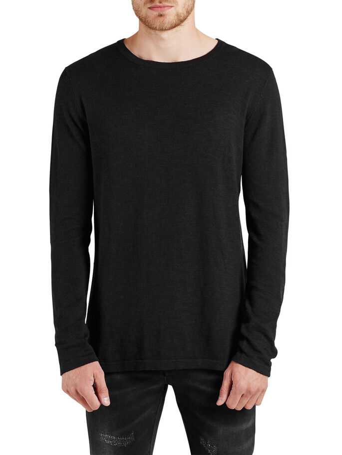 VERSATILE KNITTED PULLOVER, Black, large