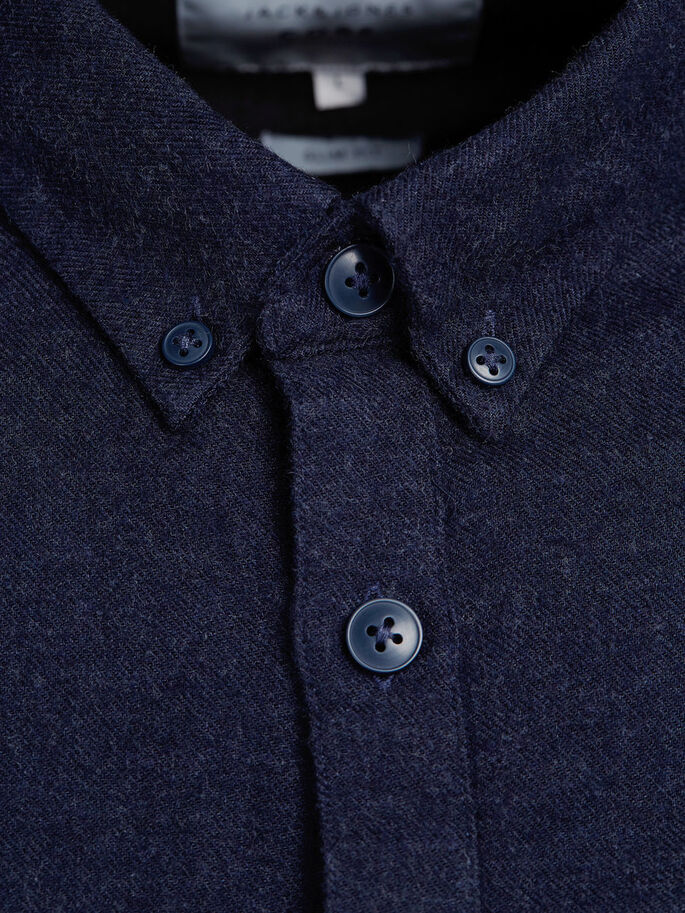 BUTTON-DOWN CASUAL SHIRT, Navy Blazer, large
