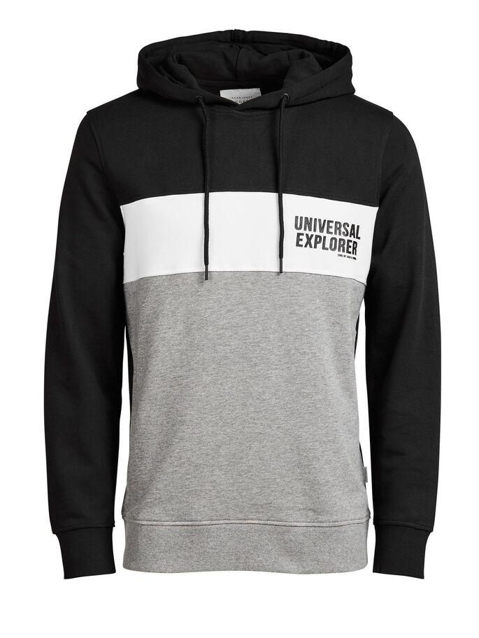 BLOCK COLOUR HOODIE, Black, large