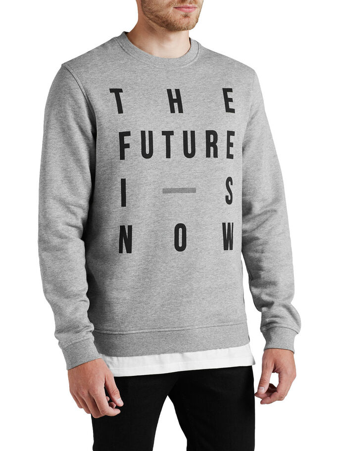 GRAFISCH GESTALTETES SWEATSHIRT, Light Grey Melange, large