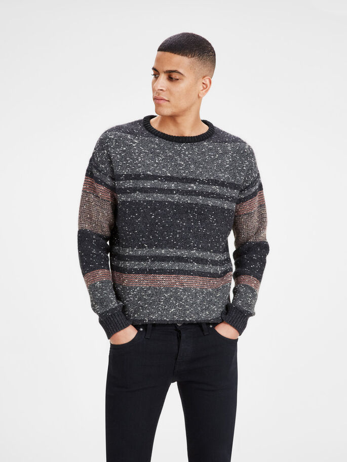 TEXTURED KNITTED PULLOVER, Black, large
