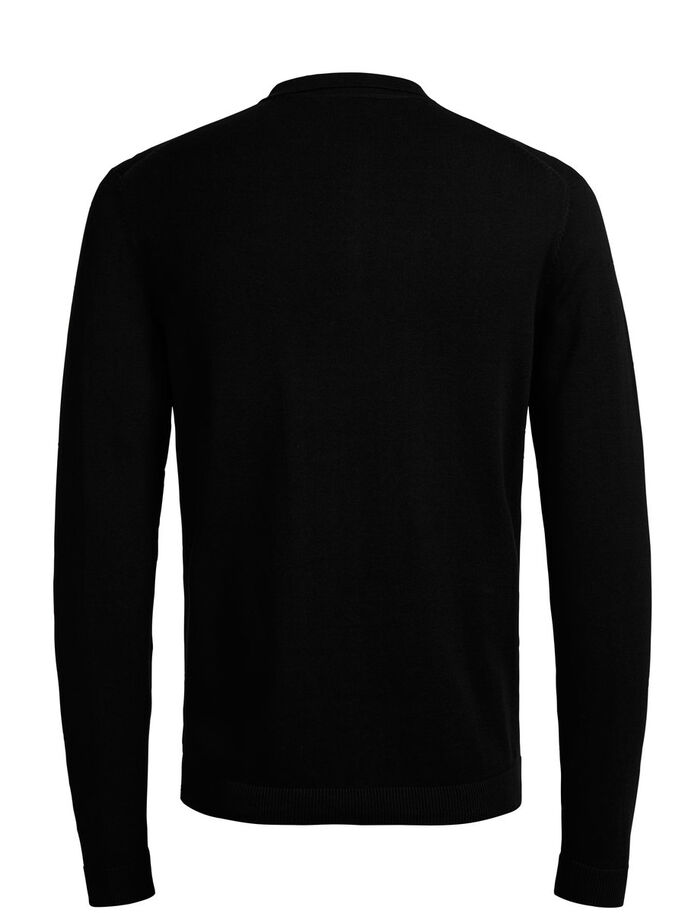 LANGÄRMELIGES STRICK- POLOSHIRT, Black, large