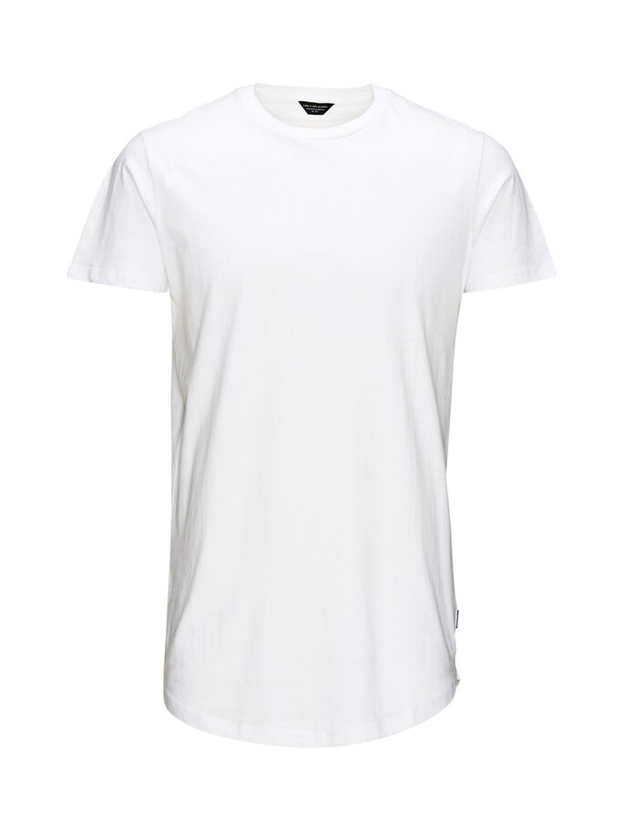 SCHLICHTES LONG-FIT- T-SHIRT, White, large