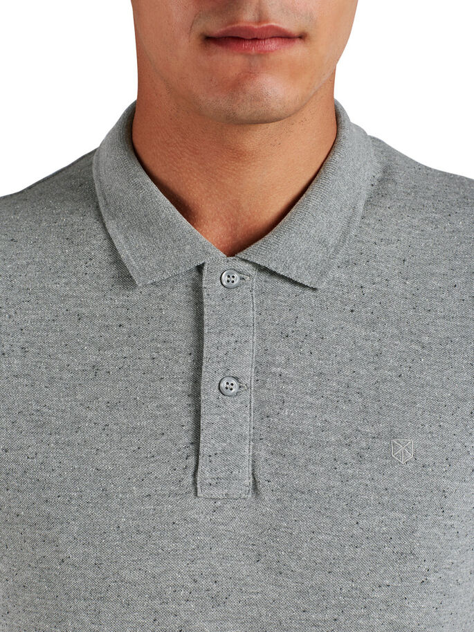 FLECKED POLO SHIRT, Light Grey Melange, large