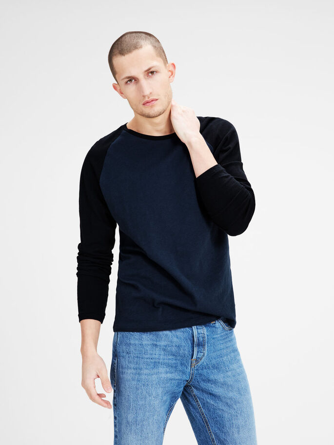 RAGLAN LONG-SLEEVED T-SHIRT, Mood Indigo, large