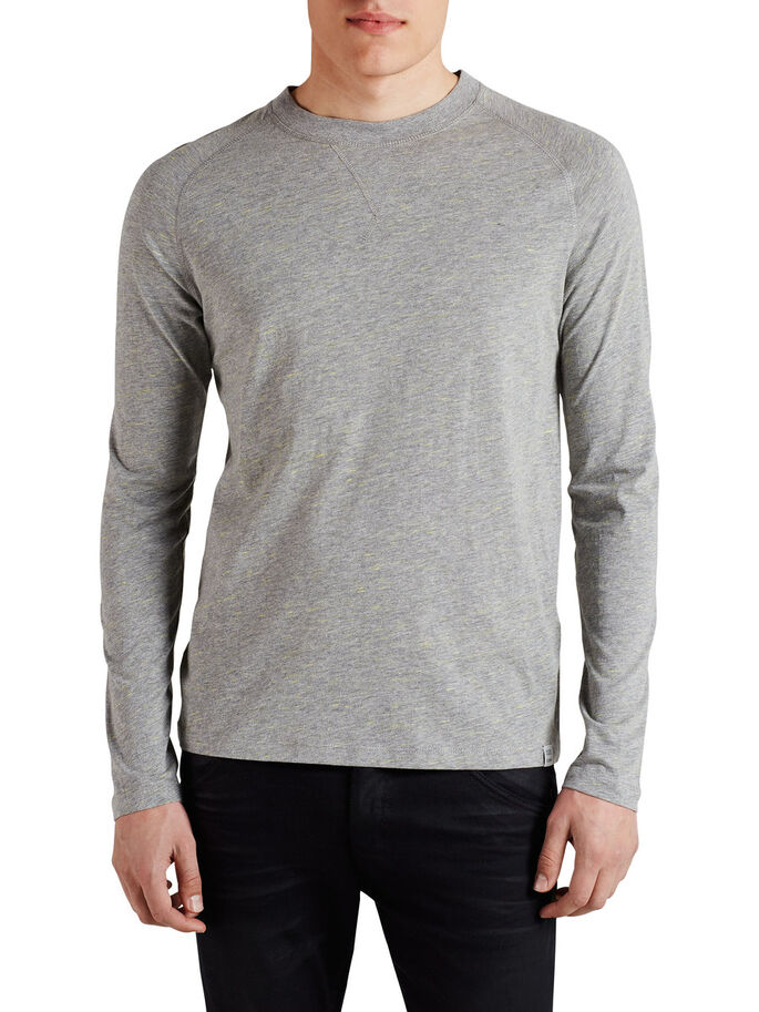 BASIC LANGÆRMET T-SHIRT, Light Grey Melange, large