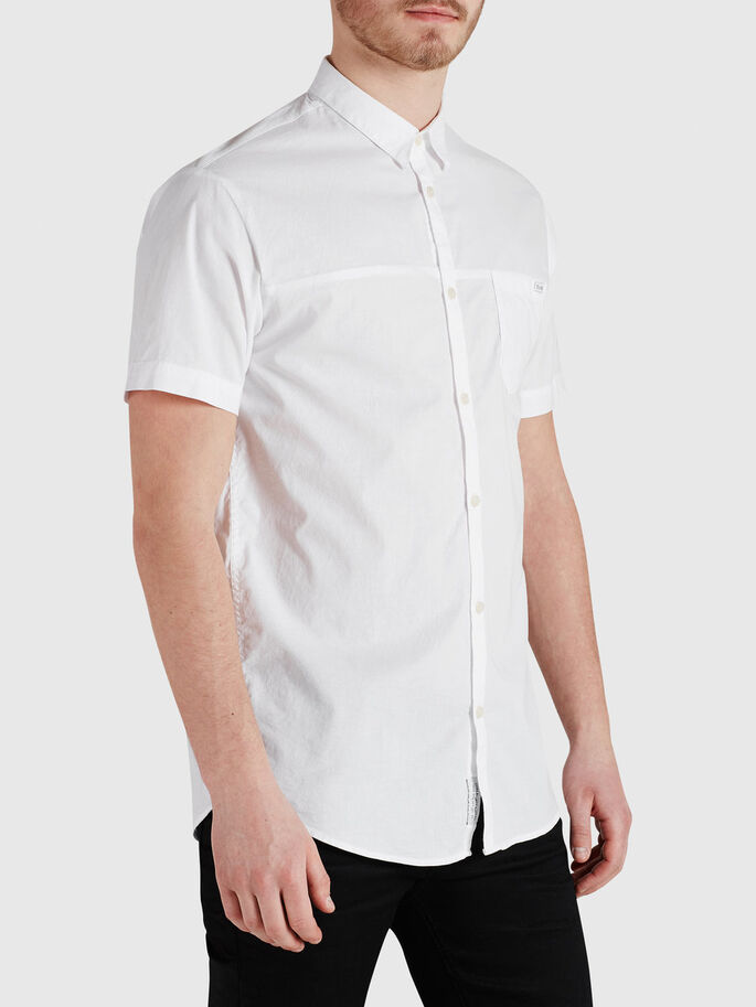 CLEAN-CUT SHORT SLEEVED SHIRT, White, large