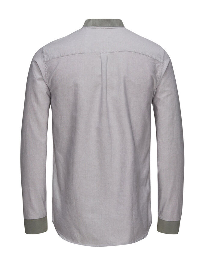 BASEBOLLINSPIRERAD CASUAL SKJORTA, Light Gray, large