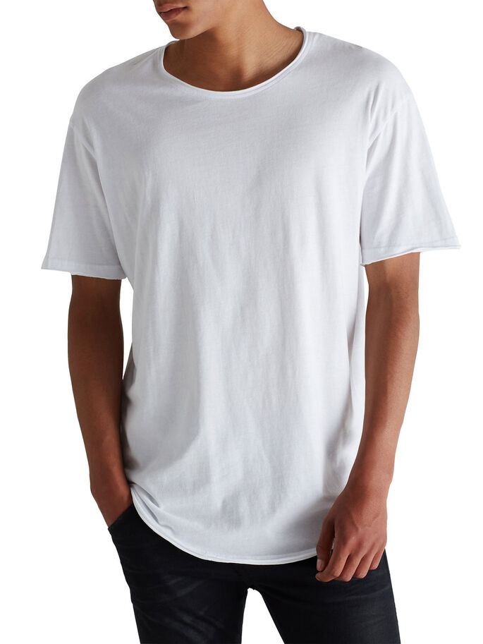 SOLID LONG FIT T-SHIRT, White, large