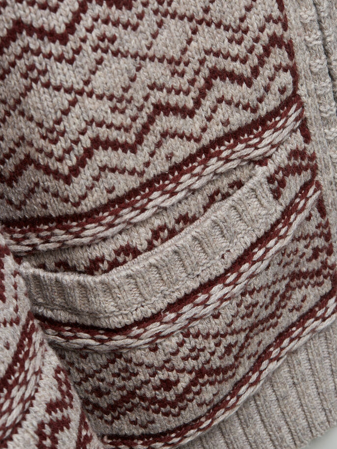 SCHALKRAGEN- STRICKJACKE, Oatmeal, large