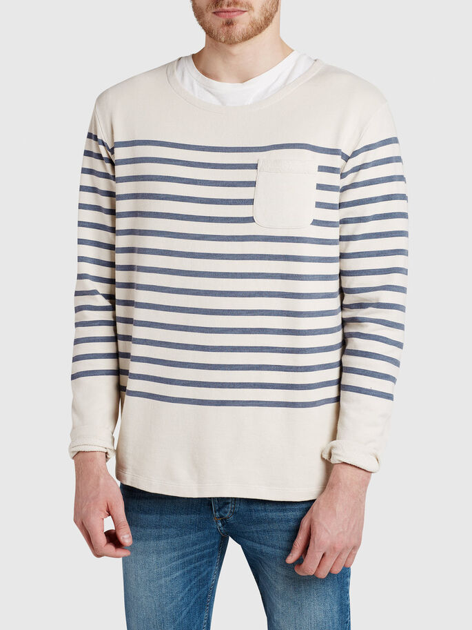 STRIPED SWEATSHIRT, Mood Indigo, large