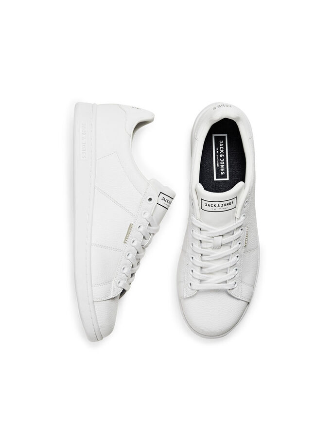 LEATHER LOOK TRAINERS, Bright White, large