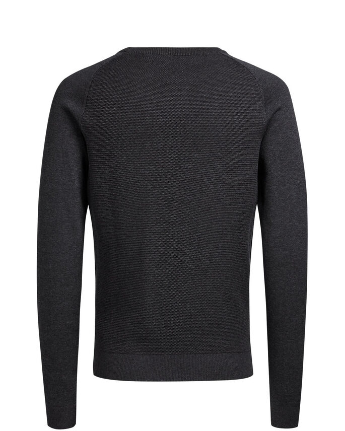 RAGLAN KNITTED PULLOVER, Dark Grey Melange, large