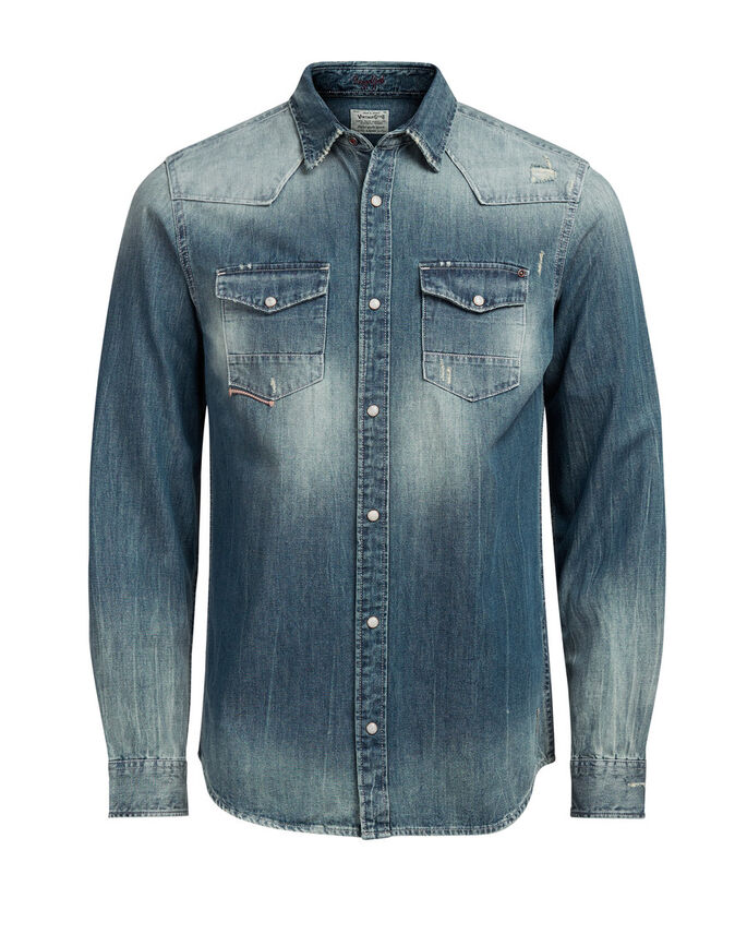 DENIM WESTERN DENIM SHIRT, Medium Blue Denim, large