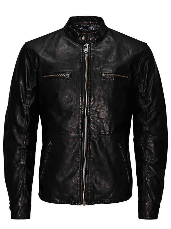 REGULAR-FIT-BIKER- LEDERJACKE, Black, large