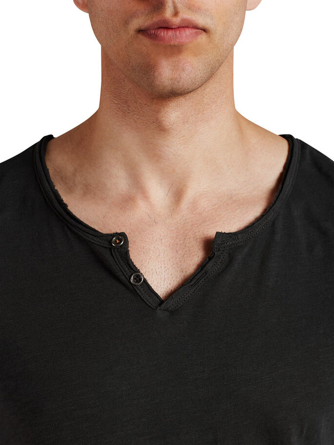 SPLIT NECK T-SHIRT, Pirate Black, large