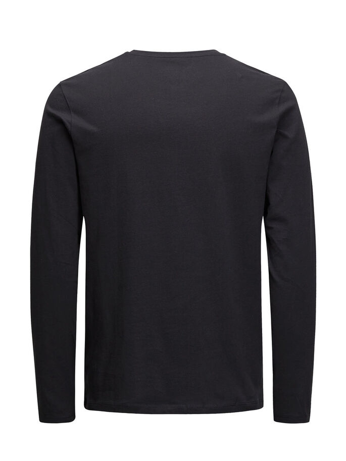 CASUAL LONG-SLEEVED T-SHIRT, Black, large