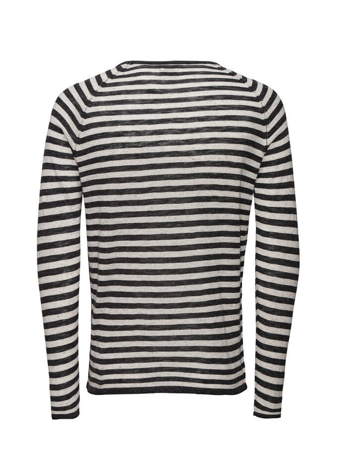 LIGHTWEIGHT STRIPED PULLOVER, Dark Grey Melange, large