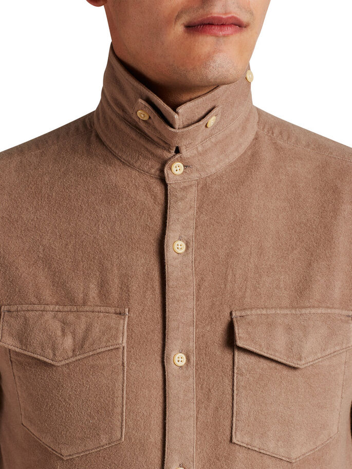 BRUSHED LONG SLEEVED SHIRT, Camel, large