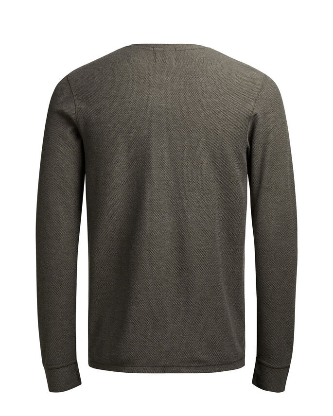 GRANDDAD COLLAR LONG-SLEEVED T-SHIRT, Black Olive, large