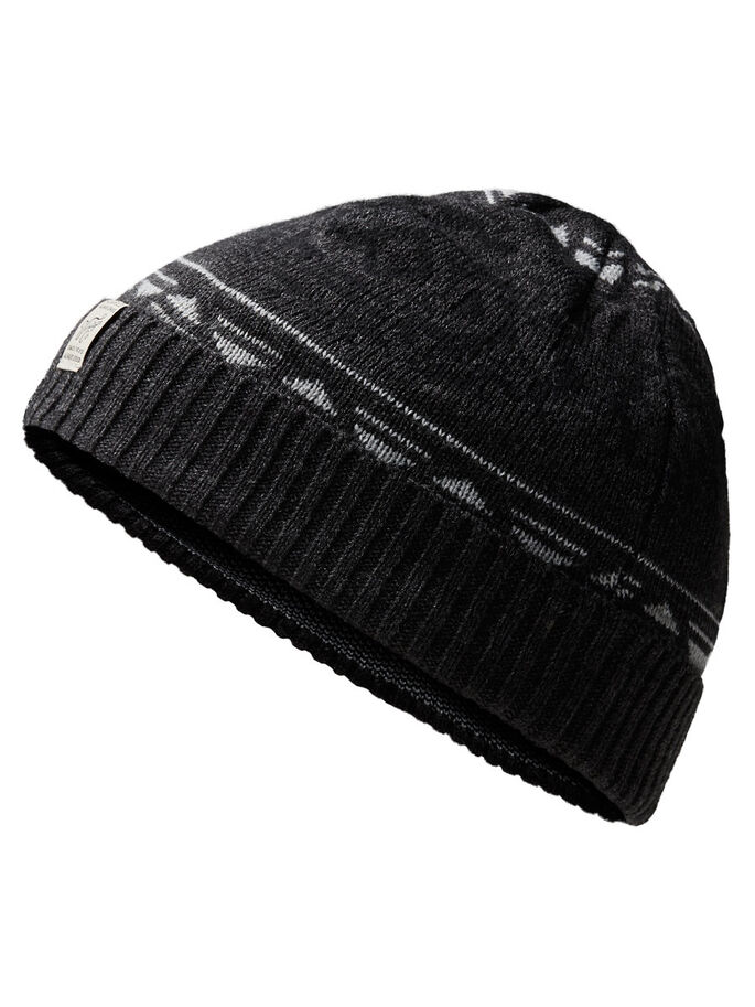 PATTERNED BEANIE, Dark Grey Melange, large
