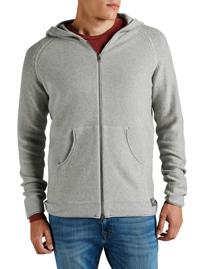HUVFÖRSEDD STICKAD KOFTA, Light Grey Melange, large