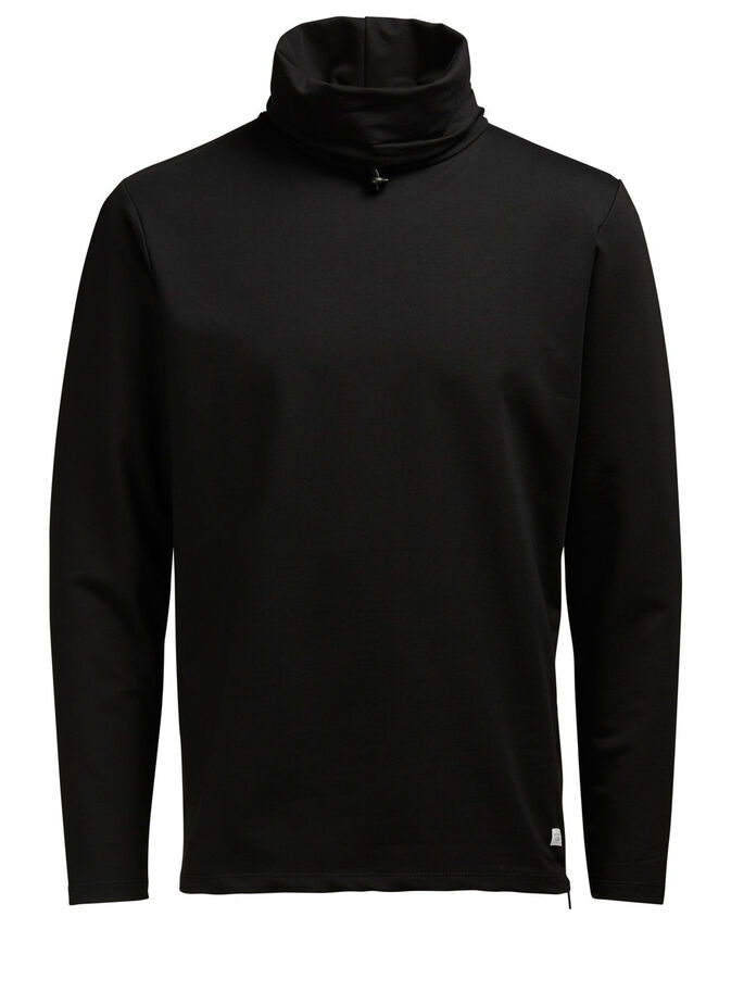 HIGH-NECK- SWEATSHIRT, Black, large
