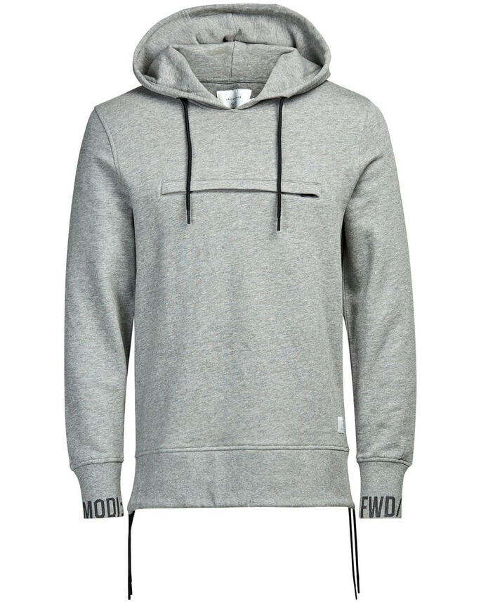DETAILED HOODIE, Light Grey Melange, large