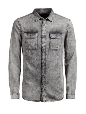WASHED DENIM LONG SLEEVED SHIRT