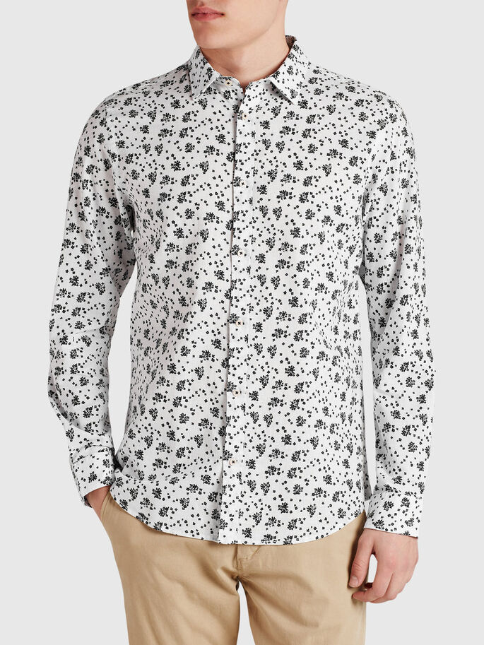 LINEN BLEND FLORAL BUSINESS SHIRT, White, large