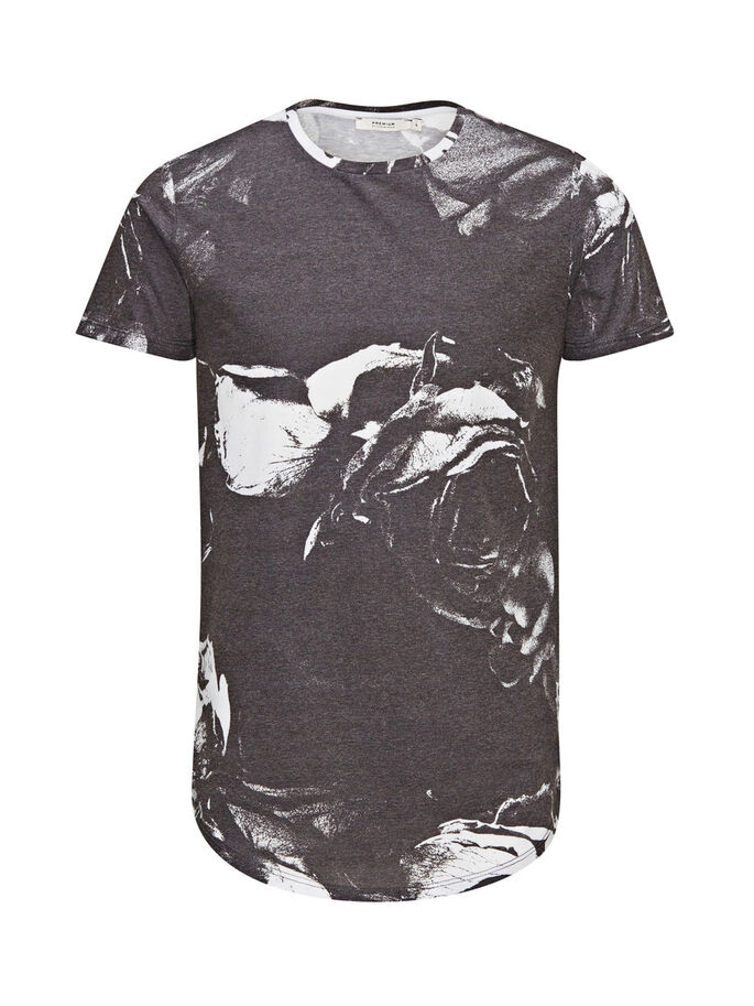 BLUMEN-PRINT T-SHIRT, Black, large